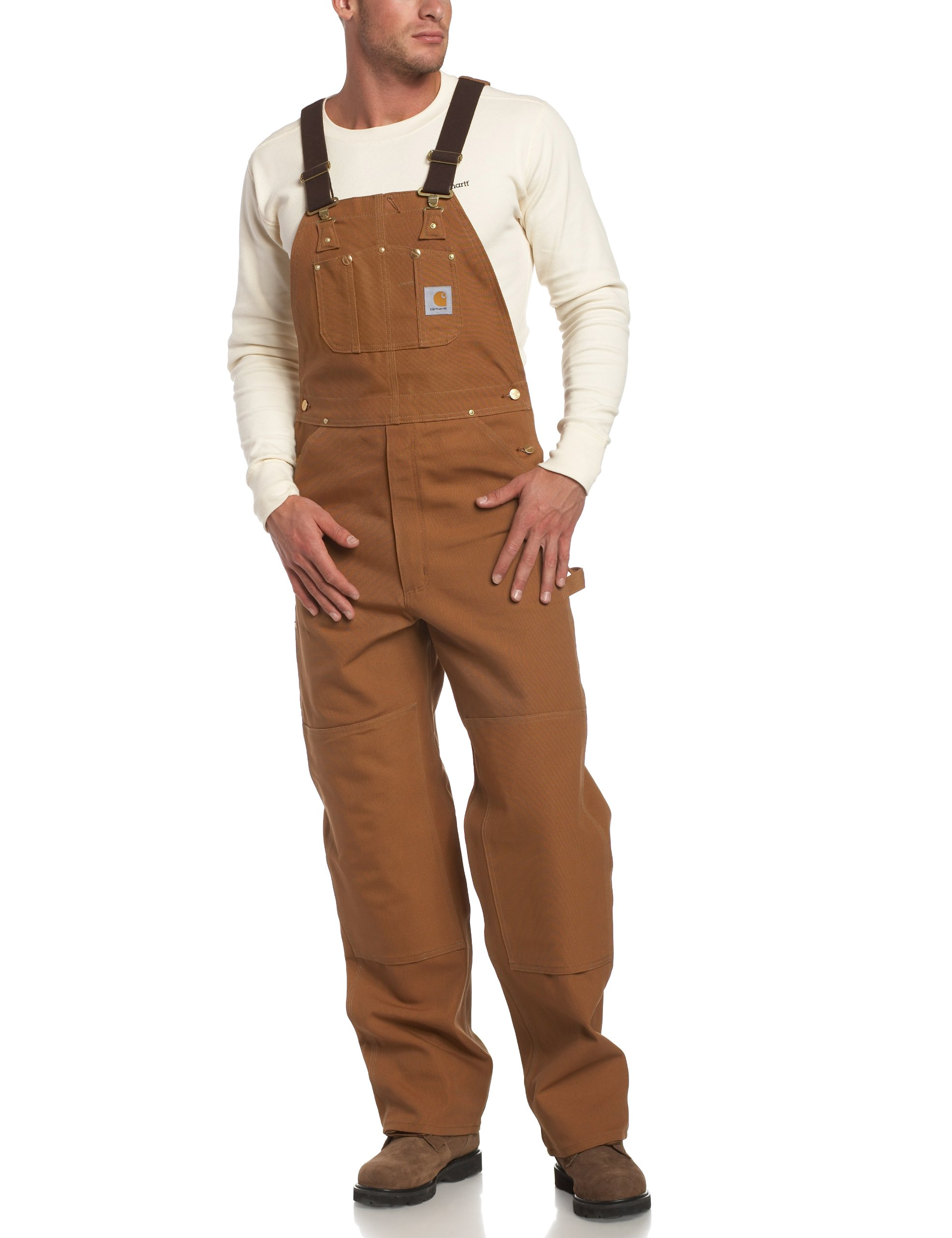 Carhartt Men's Duck Bib Overall Unlined R01,Brown,46 x 36