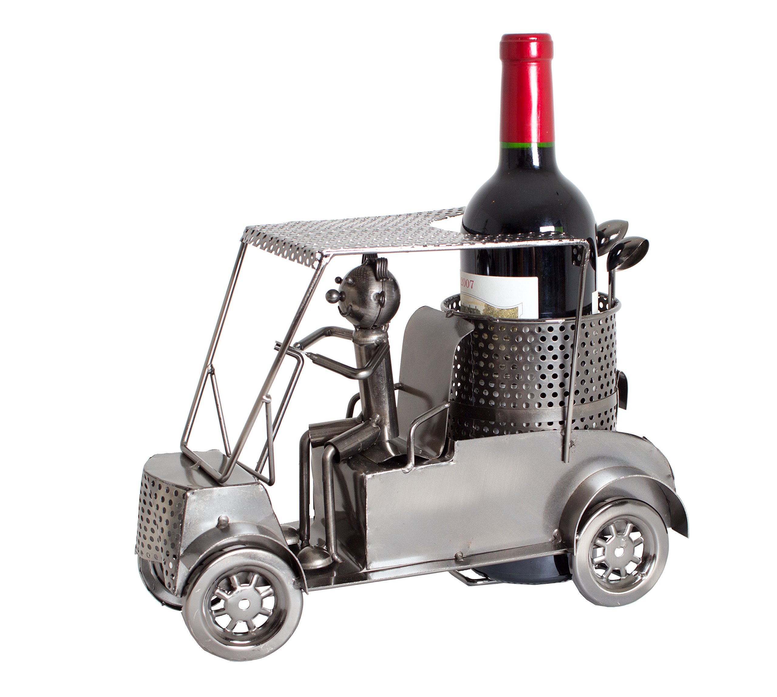 BRUBAKER Wine Bottle Holder Statue Golfer in A Golf Cart Sculptures and Figurines Decor & Vintage Wine Racks and Stands Gifts Decoration by BRUBAKER (Image #1)