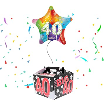 Happy 40th Birthday Balloon Delivered Inflated In A Box Amazoncouk Toys Games