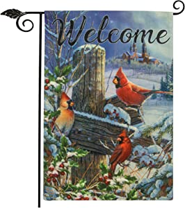 Unves Christmas Garden Flag Burlap, Cardinal Welcome Winter Yard Flag with Red Bird Holly Berry Branches for Holiday House Farmhouse Decorations 12.5 x 18