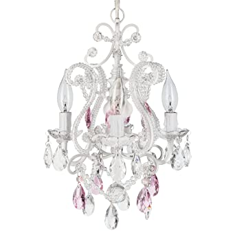 Josephine Pink Crystal Beaded White Chandelier, Mini Nursery Plug In Glass  Pendant 4 Light