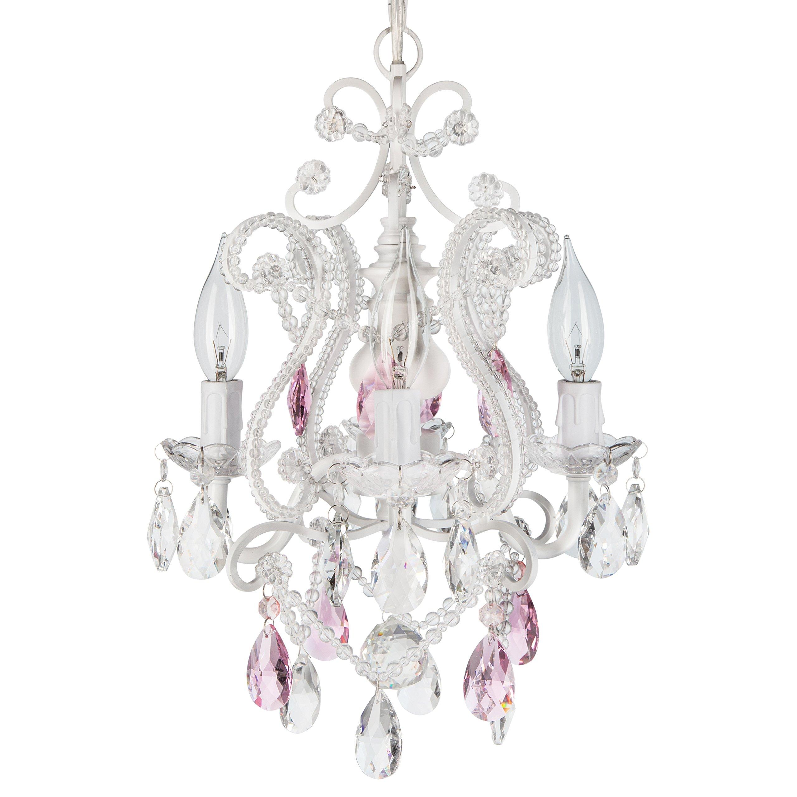Josephine Pink Crystal Beaded White Chandelier, Mini Nursery Plug-In Glass Pendant 4 Light Wrought Iron Swag Ceiling Lighting Fixture Lamp