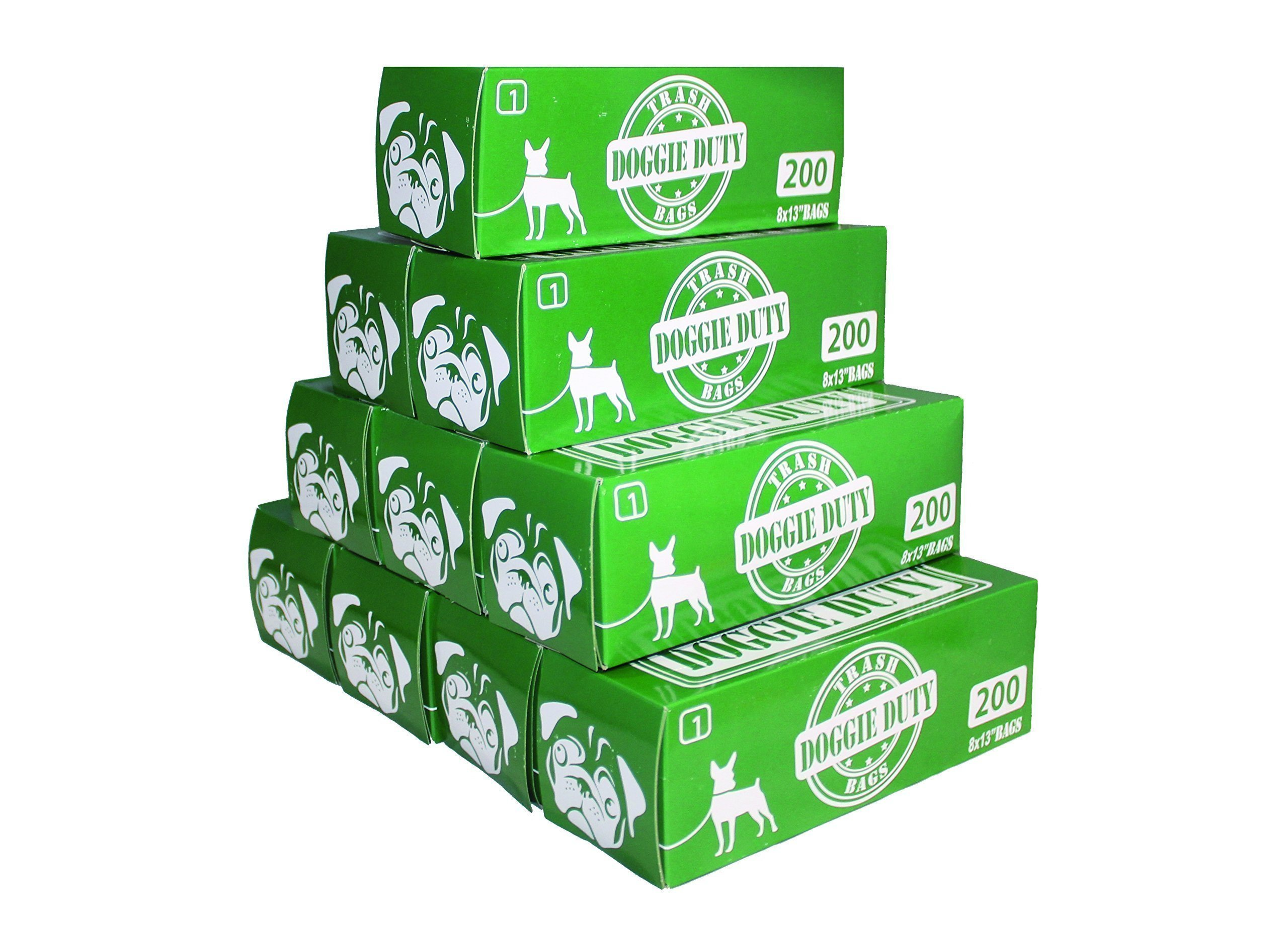 10 refill boxes of 200 bags each box 2,000 total Pet Waste Bags- Doggie Duty Trash Bags Case - Dog pick up bags, Puppy litter bag, Dog poop bags