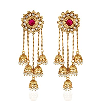 427146030 Buy Shining Diva Fashion Gold Plated Stylish Pearl Jhumka Jhumki Traditional  Earrings for Women and Girls (Golden)(8460er) Online at Low Prices in India  ...