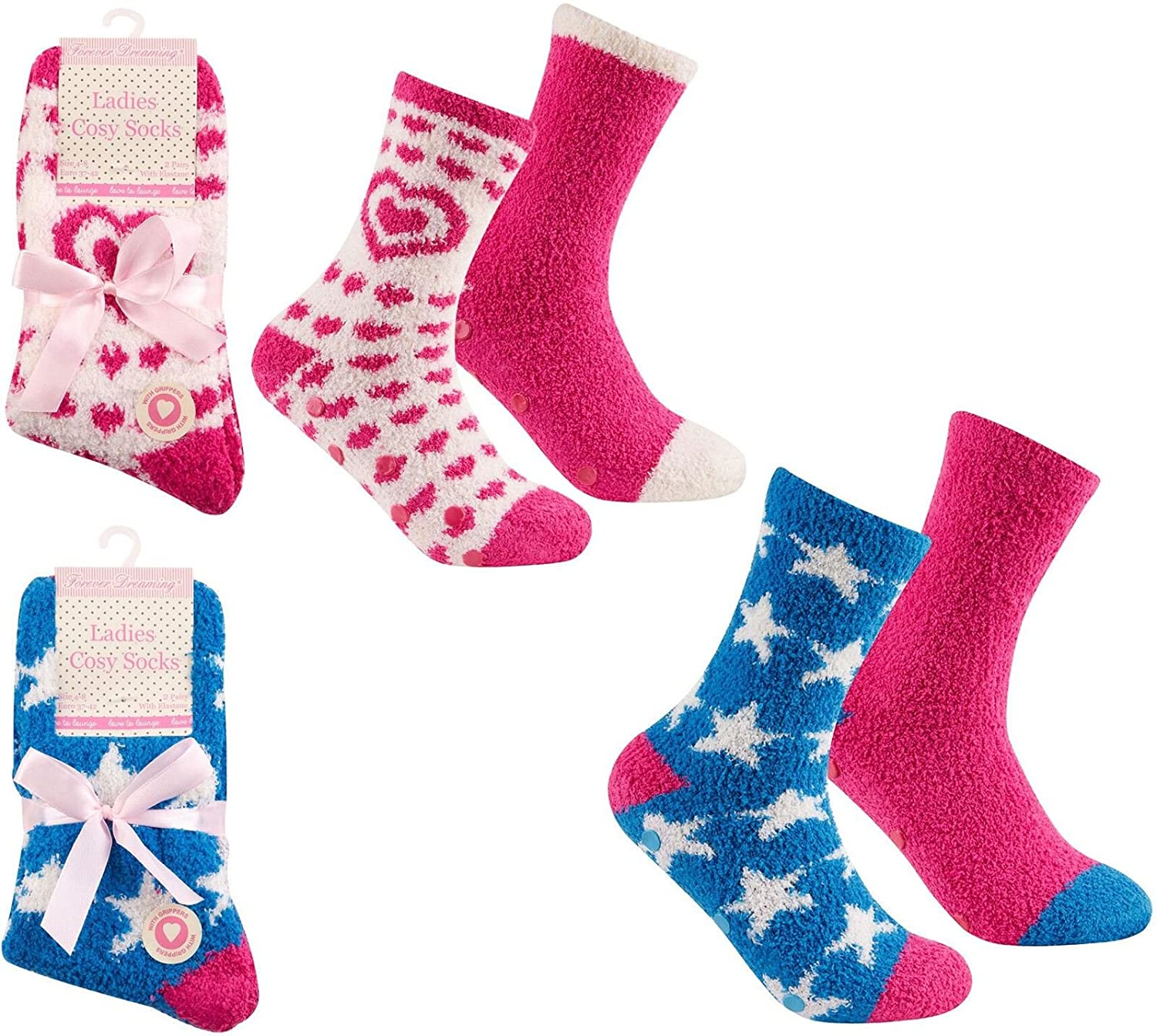 4 Pair Ladies Cosy Soft Fleece Lounge Bed Socks With or Without Rubber Grips - Mixed Colours From Undercover