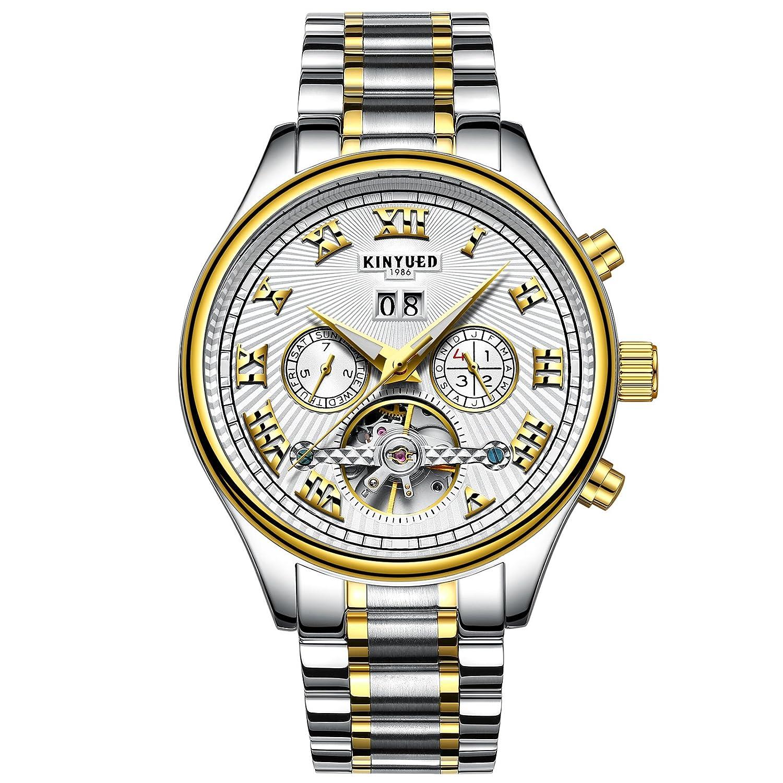 腕時計 スケルトン メンズ 自動巻き 機械式 高級 シースルーバック 5気圧防水 人気 ファッションウォッチ B075JK13XQ