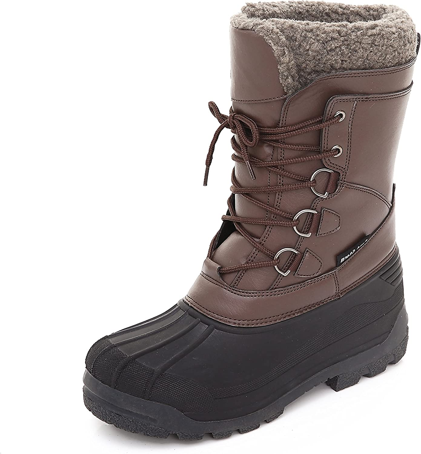 Leisfit Mens Outdoor Winter Waterproof Boots Warm Insulated Fur Snow Boots Work Hiking Booties for Men