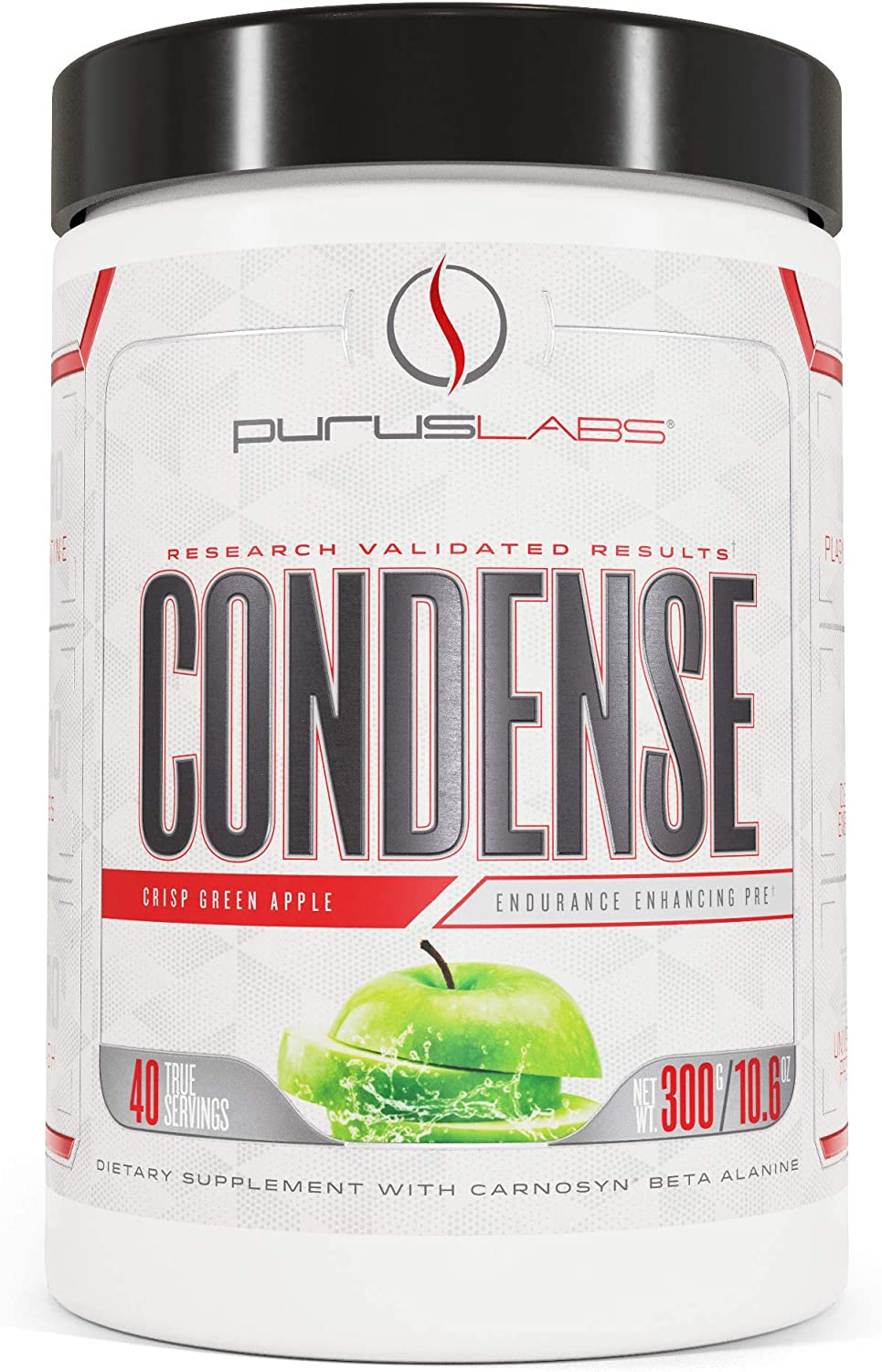 Purus Labs Condense Crisp Green Apple Endurance Enhancing Pre-Workout Powder – Caffeine for Energy – Beta-Alanine – Great Pumps – Clean Energy – Nitric Oxide Boosting – Zero Dyes – Full 40 servs