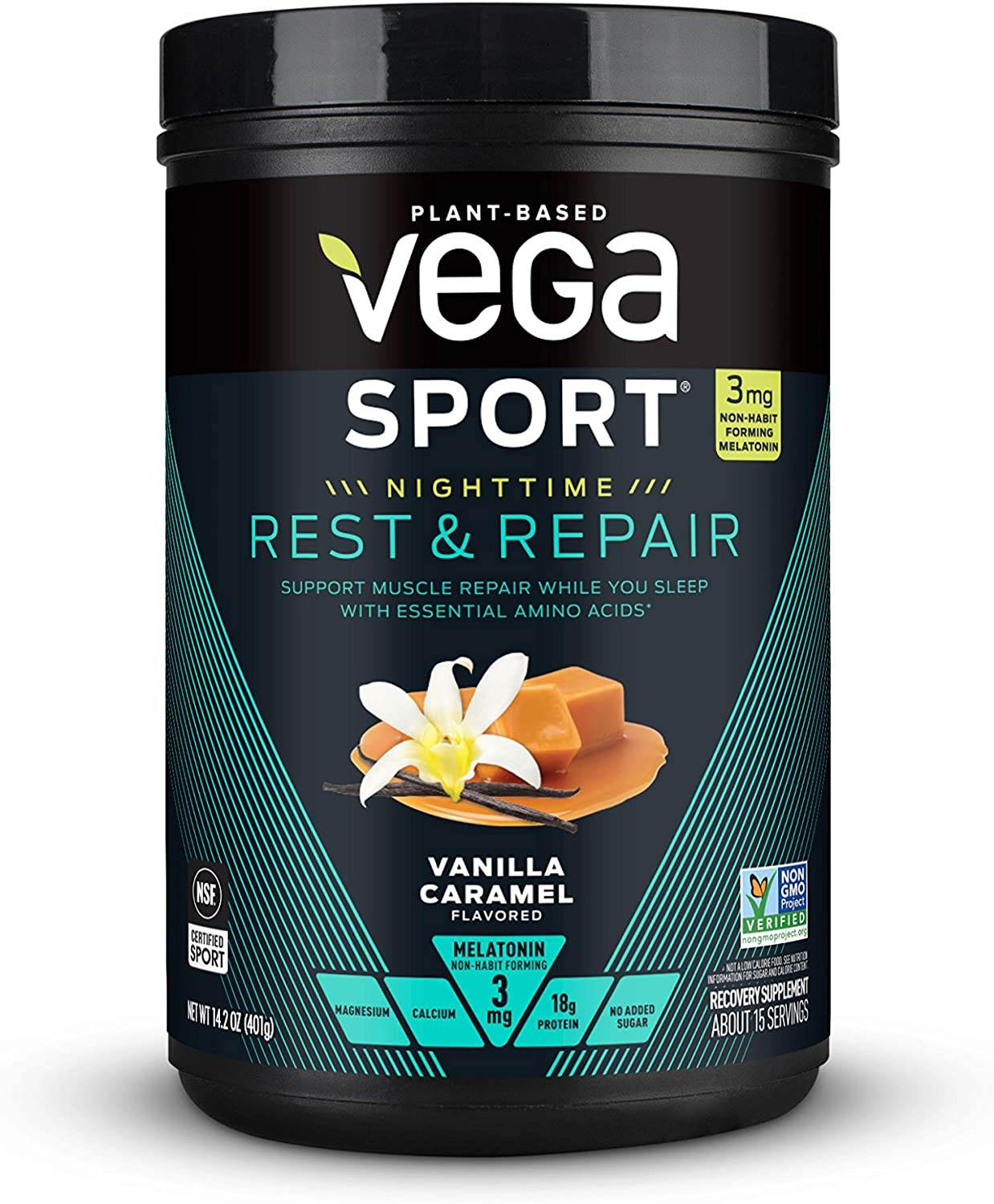 Vega Sport Nighttime Rest & Repair US Vanilla Caramel (15 servings, 14oz) - Vegan Plant-Based Post Workout Fuel with Protein, Melatonin, Magnesium, and Calcium - Non GMO, No Dairy, No Soy, Gluten Free