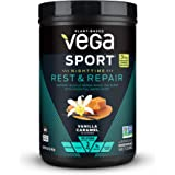 Vega Sport Nighttime Rest & Repair US Vanilla Caramel (15 servings, 14oz) - Vegan Plant-Based Post Workout Fuel with…