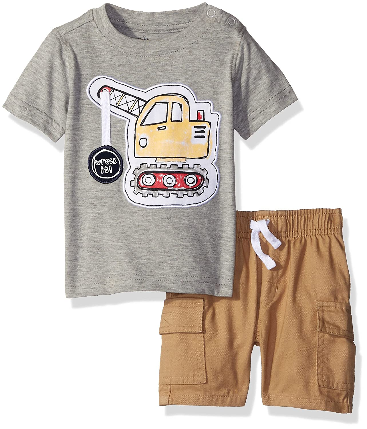 Kids Headquarters Baby Boys Jersey Tee with Applique and Cargo Woven Shorts