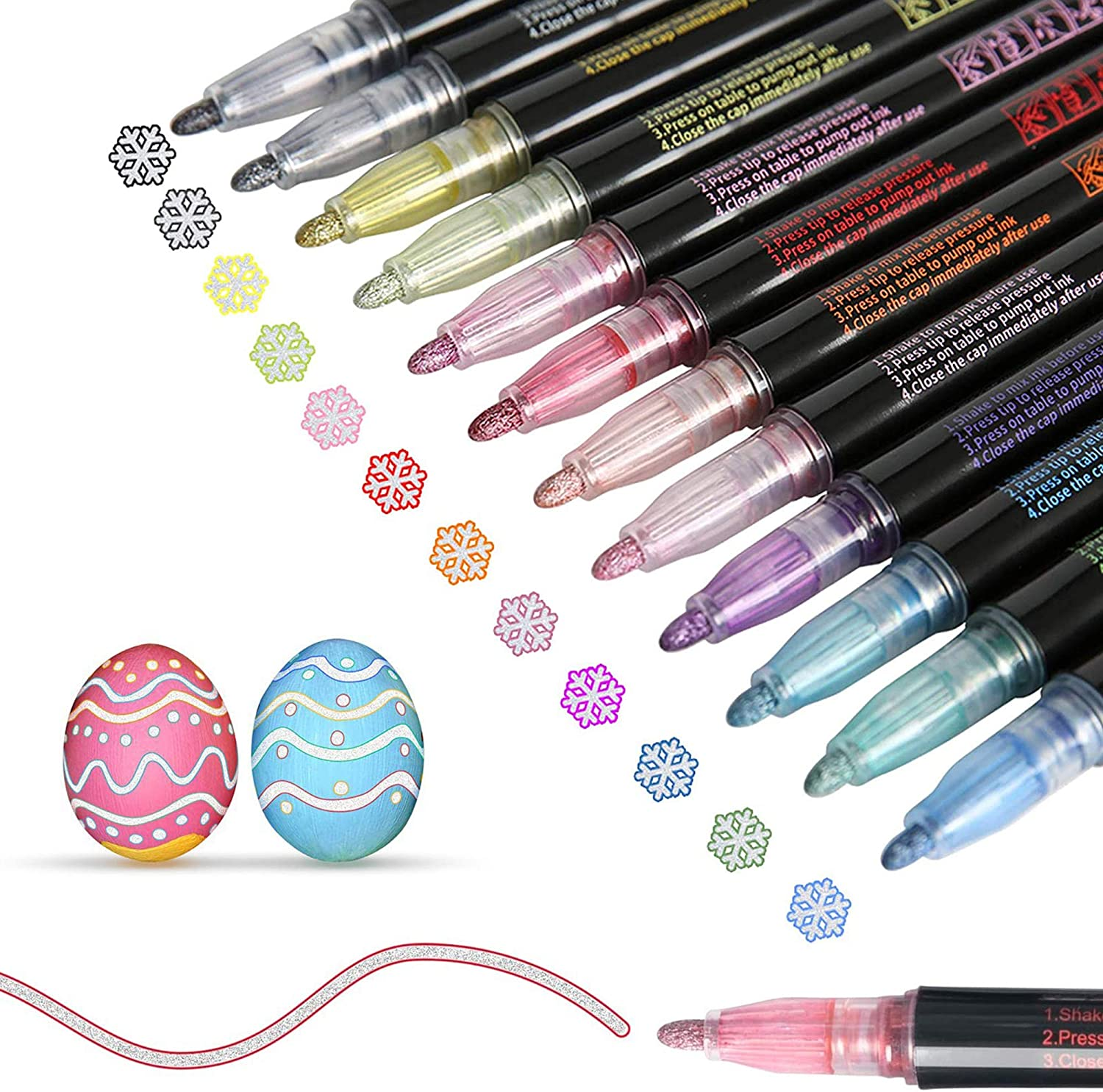 Greeting Cards Painting 12 Colors Double Line Outline Metallic Markers for Drawing Marker Pen for Highlight DIY Art Crafts Craft Projects Doodle Dazzle Markers Posters