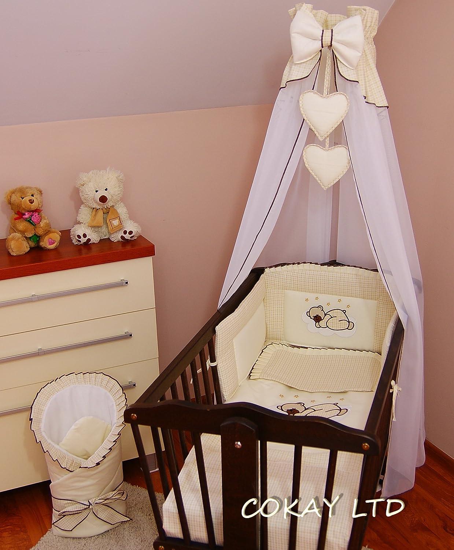 10 pcs Crib Bedding Set /Bumper/sheet/duvet/CANOPY /Free Standing Canopy Holder-CREAM (HEART) COKAY LTD