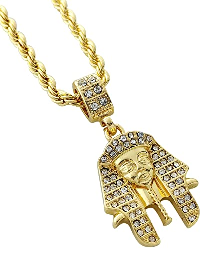 Iced out king tut pendant necklace with 24 rope chain gold iced out king tut pendant necklace with 24quot aloadofball Gallery