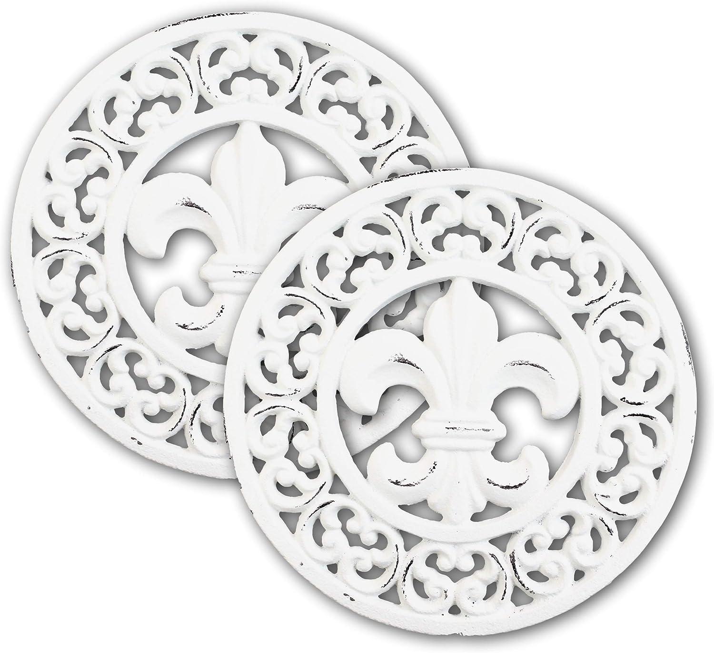 Rustic Off White Round Fleur De Lis Medallion In Scroll Design Cast Iron Trivet