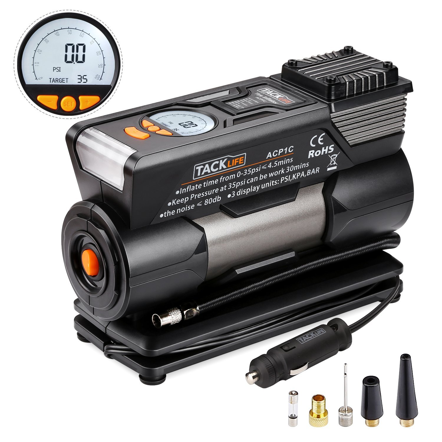 TACKLIFE Digital Tyre Inflator, ACP1C Air Compressor Pump, 12V Tyre Pump with Unique Continuous Inflation Function,Larger Backlight Display, LED Light, 3 Nozzle Adaptors and Extra Fuse(150PSI)