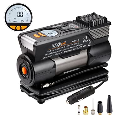 Tire Inflator, Tacklife ACP1C Air Compressor Pump, 12V Tire Pump with Larger Air Flow 35L/Min, 4 Nozzle Adaptors, 2 Mode LED Light