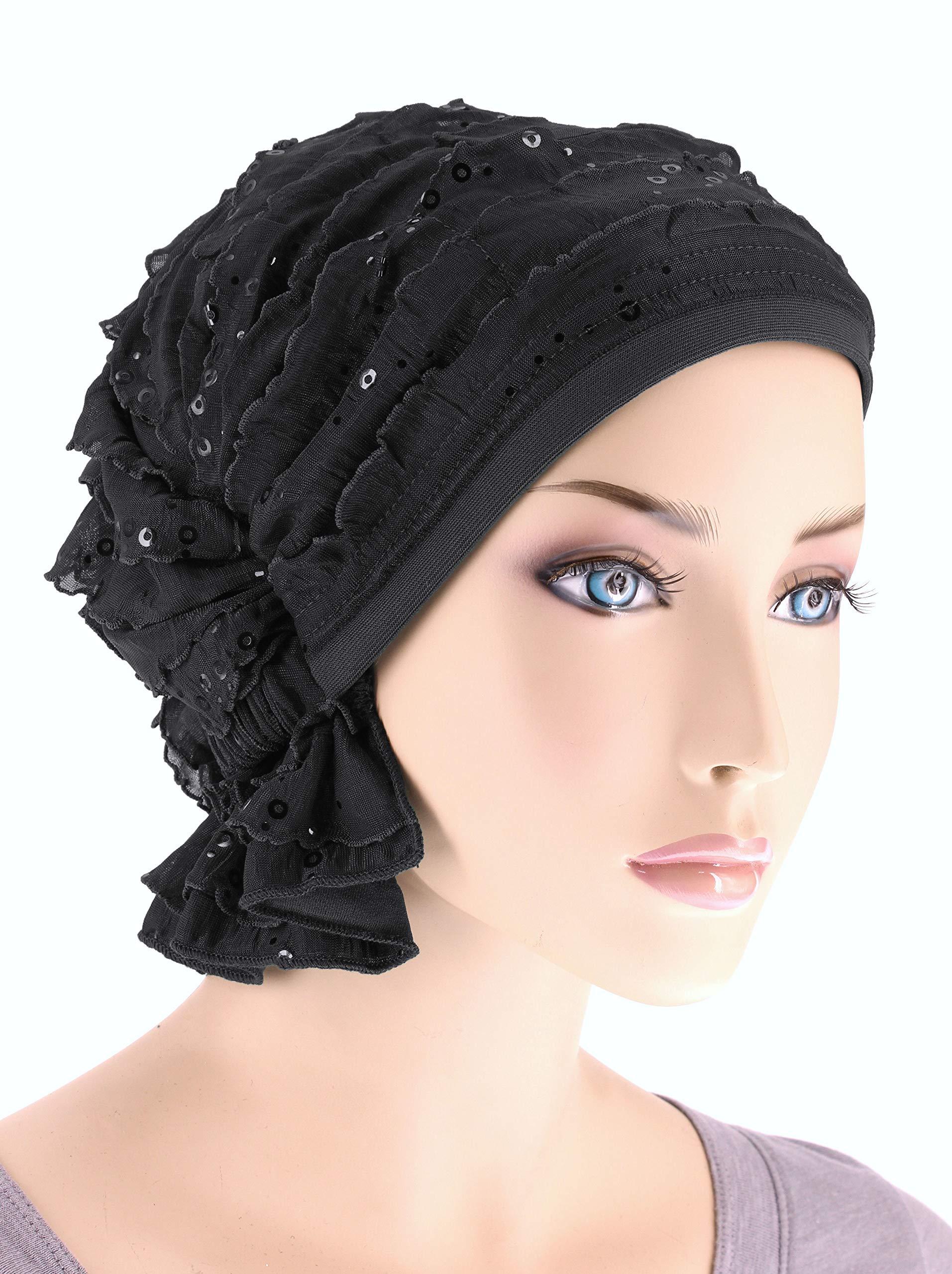 Abbey Cap Womens Chemo Hat Beanie Scarf Turban Headwear for Cancer Ruffle Black Sequin