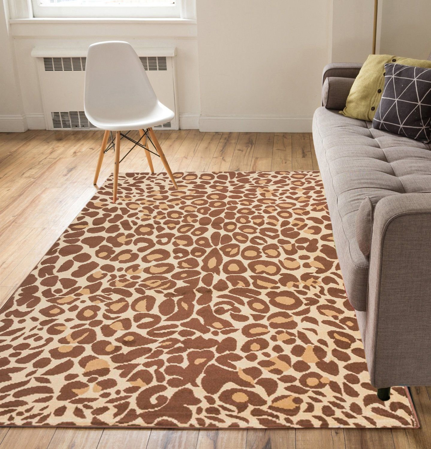 Well Woven Leopard Brown 3'3'' x 5' Area Rug Carpet