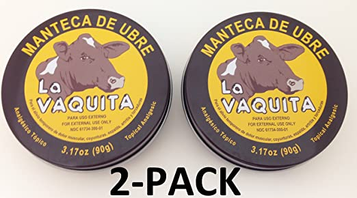 Amazon.com: Manteca De Ubre La Vaquita 3.17 Oz. Topical Analgesic 2-PACK: Health & Personal Care