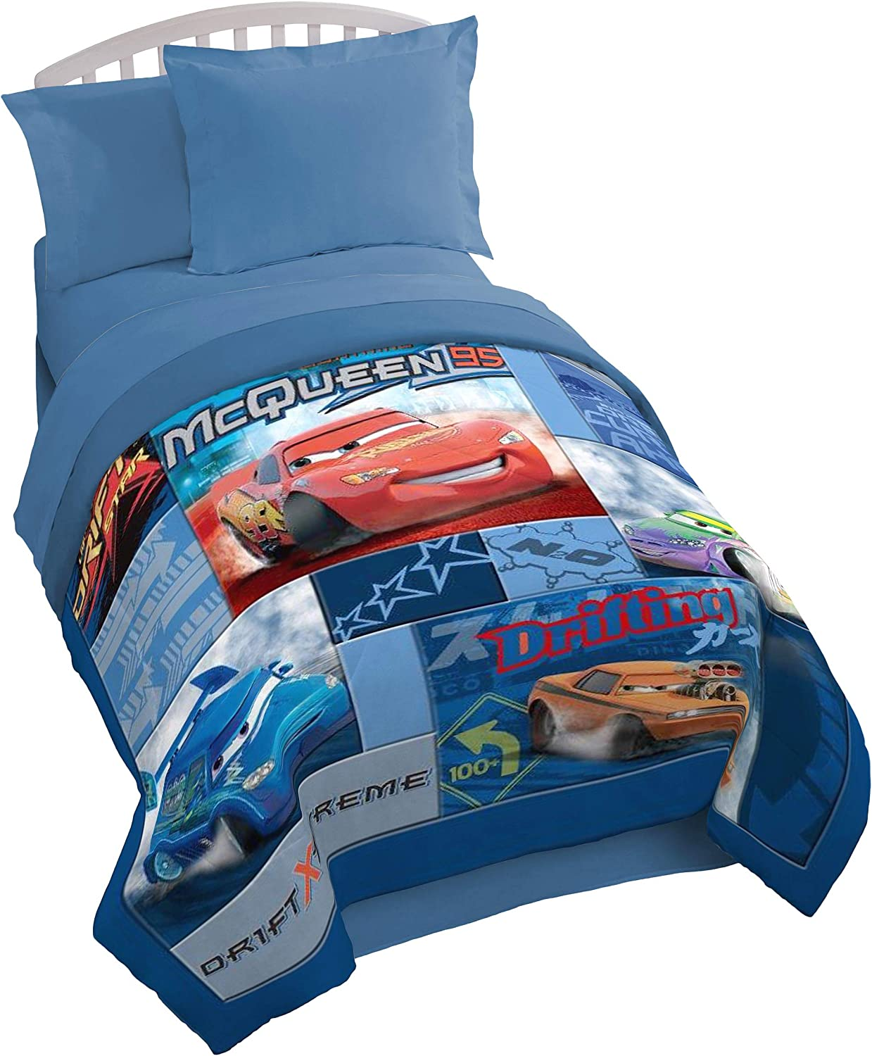 "Disney/Pixar Cars Drift Blue/Red Plush 72"" x 86"" Twin/Full Quilt with Lightning McQueen, Snot Rod, Wingo & DJ (Official Disney/Pixar Product)"