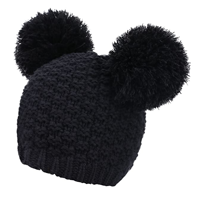 1799128f1ce Women s Winter Chunky Knit Black Beanie Hat with Double Pom Pom Ears   Amazon.in  Clothing   Accessories