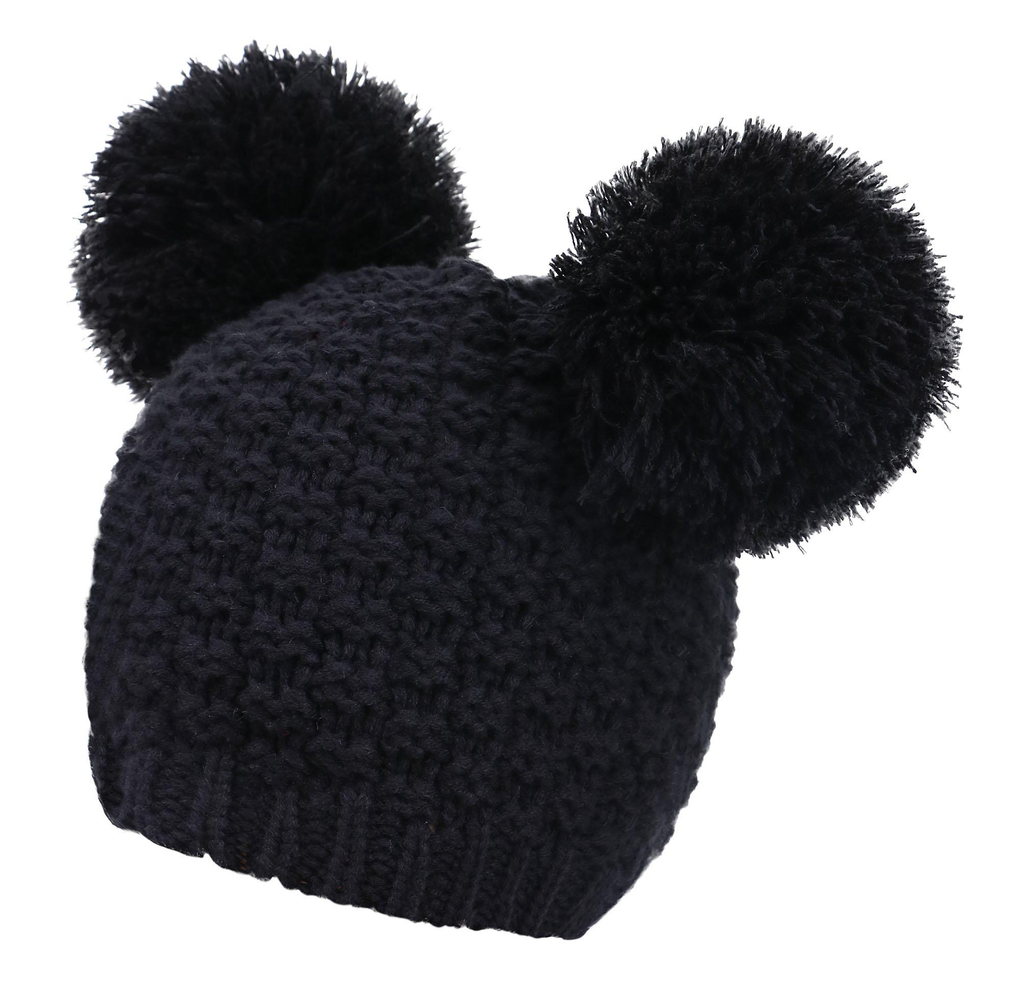 Livingston Women's Winter Chunky Knit Double Pom Pom Beanie Hat, Black