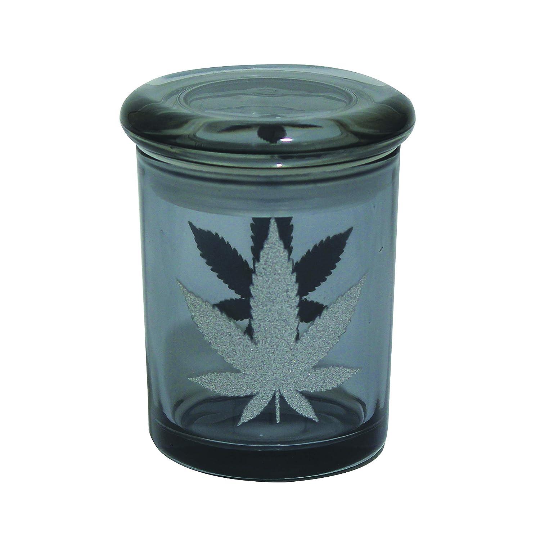 Fess Jars 6oz Pop Top Jar Glass Medical Jar Herb Storage Container (Glitter Foil Leaf)