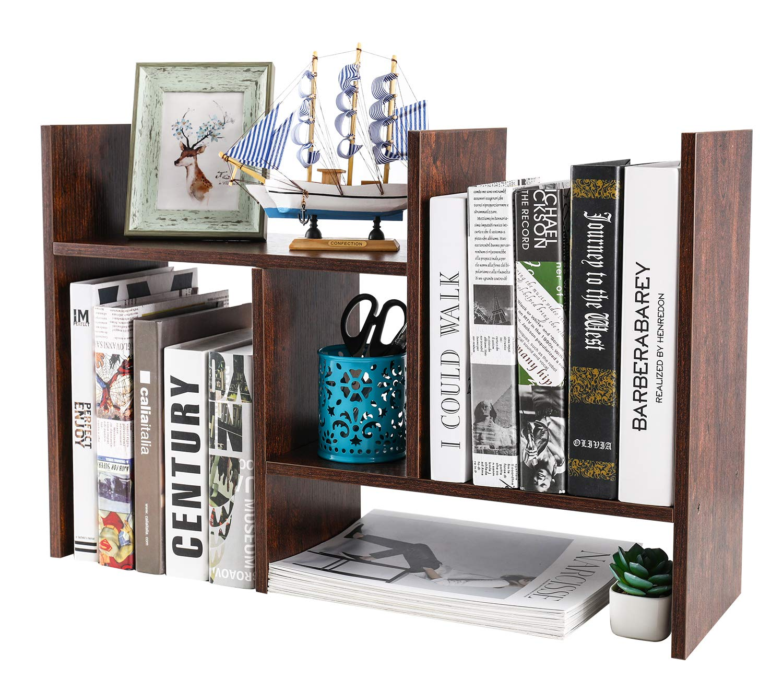 PAG Wood Desktop Bookshelf Assembled Countertop Bookcase Adjustable Literature Display Rack (Retro Brown)