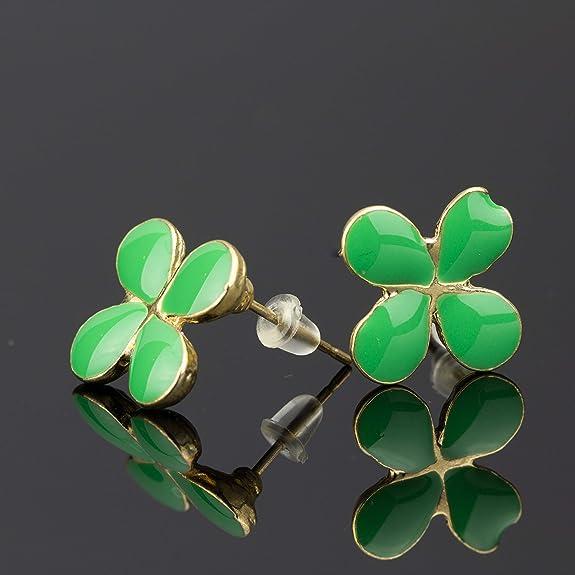St Patrick/'s Day Irish USA Details about  /Shamrock Stud Earrings Gold Plated Green Epoxy