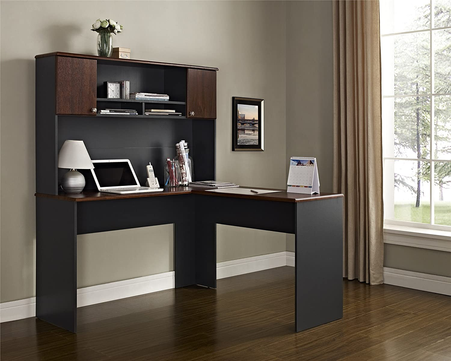 amazoncom ameriwood home the works lshaped desk cherry gray kitchen u0026 dining
