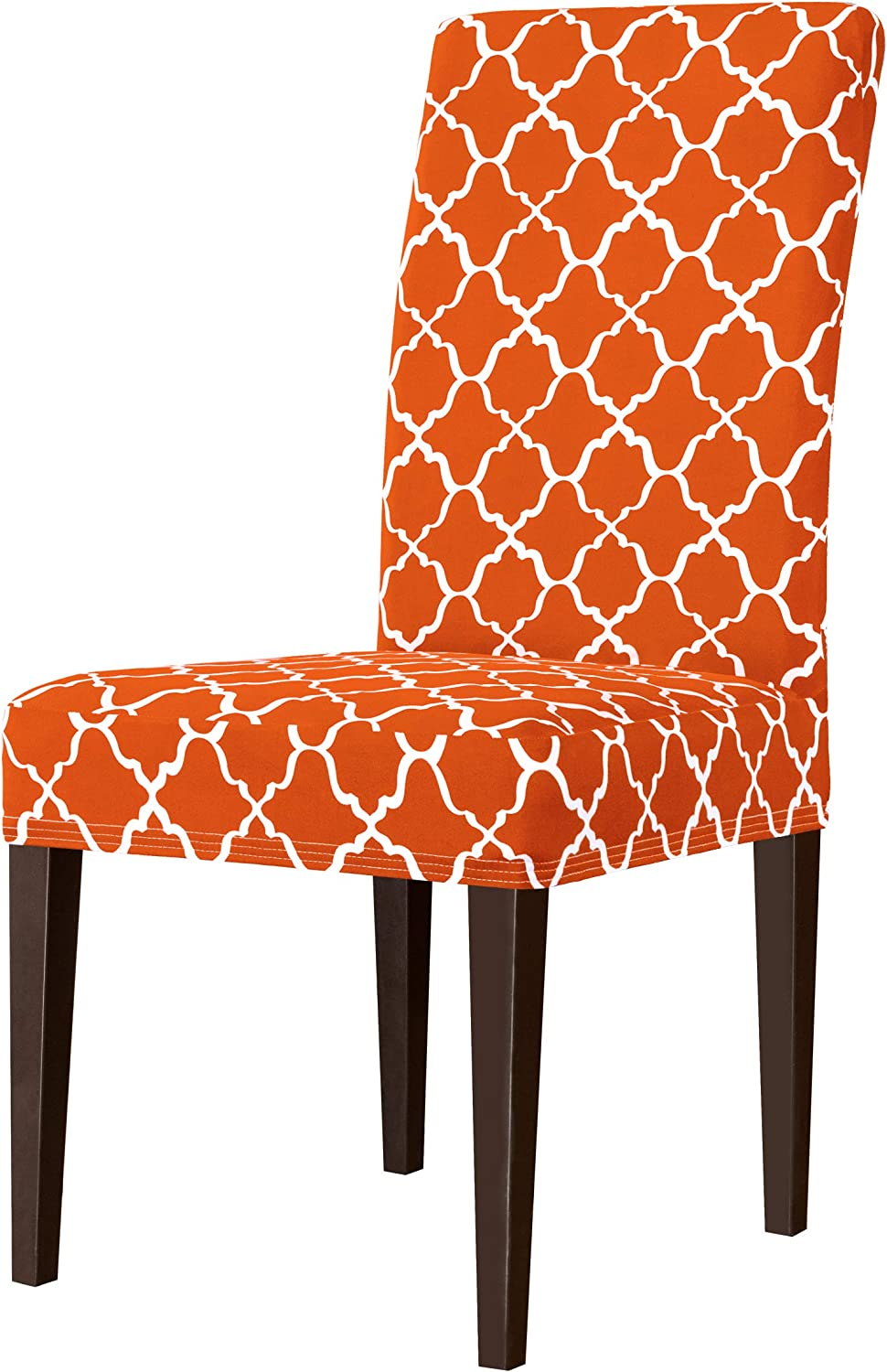 Subrtex Stretch Dining Chair Slipcovers Printed Dining Chair Protector, Removable Washable Short Dining Elastic Parsons Chair Seat Covers for Dining Room Kitchen (Orange, 2PC)