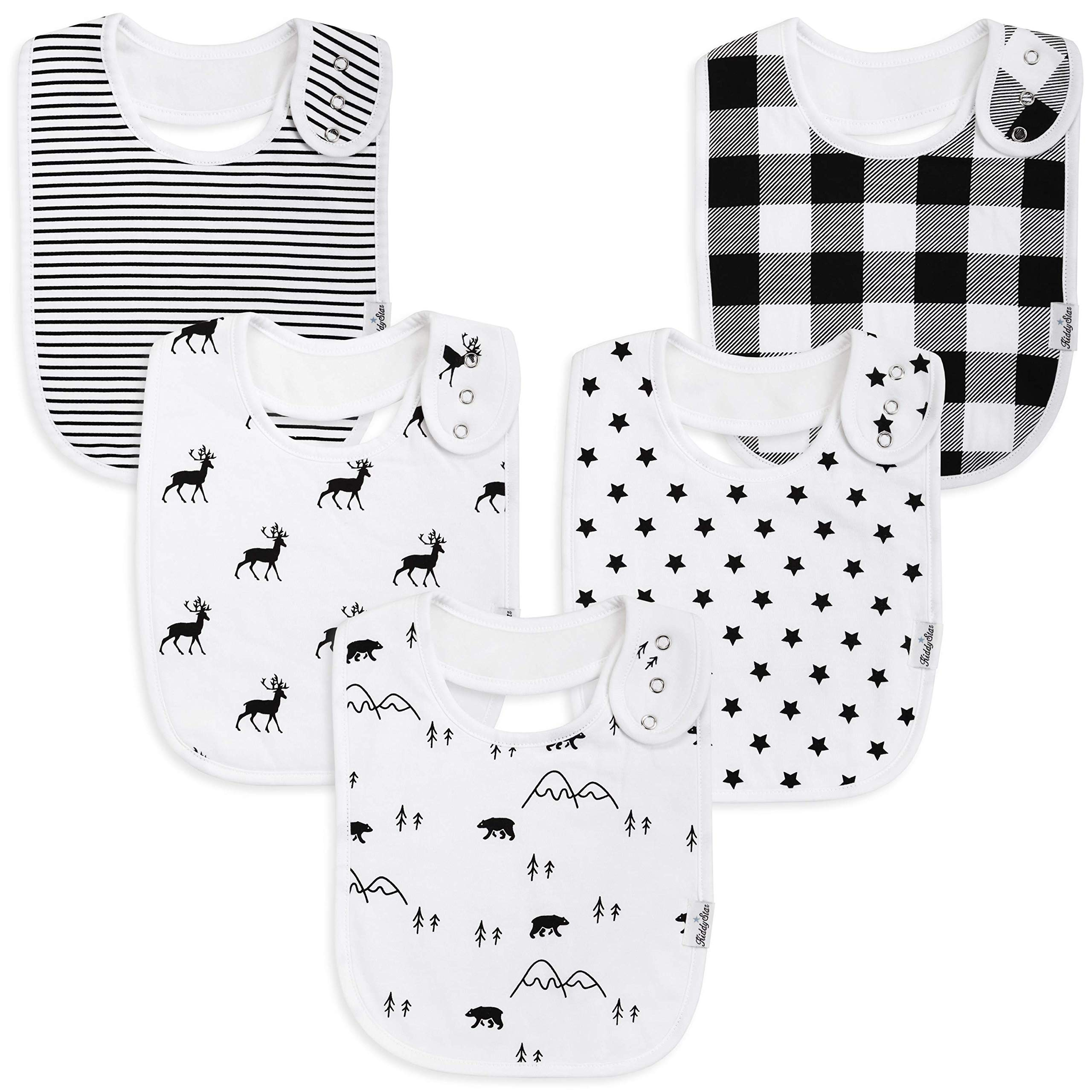 Premium, Organic Cotton Toddler Bibs, Unisex 5-Pack Extra Large Baby Bibs for Boys and Girls by KiddyStar, Baby Shower Gift for Feeding, Drooling, Teething, Adjustable 5 Positions (Bears & Reindeer) by KiddyStar