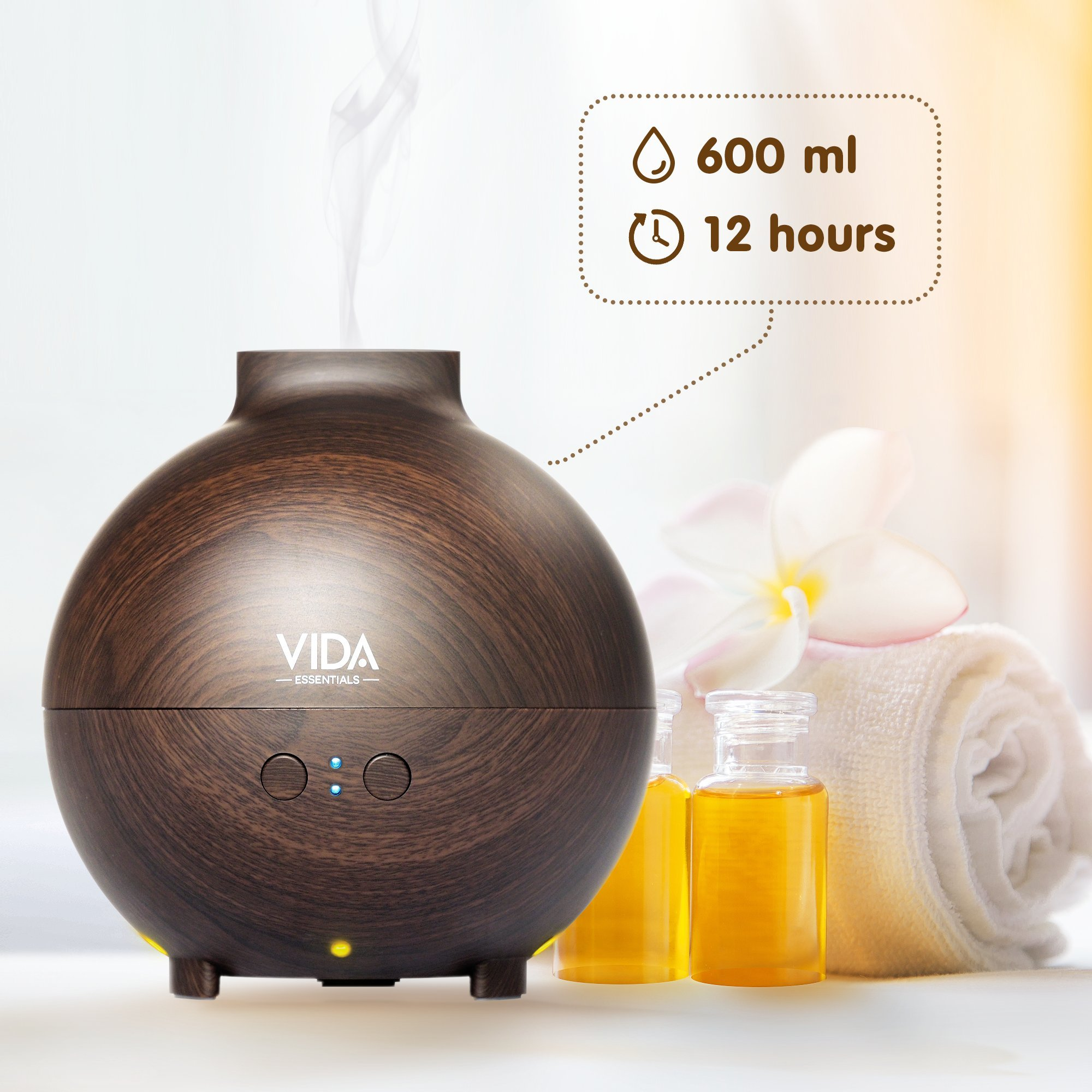 Extra Large Essential Oil Diffuser Holds a Big 20 FL OZ / 600 ml. Lasts All Night, Very Quiet. Mist Humidifier Aromatherapy Machine for Office Home Bedroom Study Yoga Spa (Dark Brown). … by Vida Essentials (Image #4)