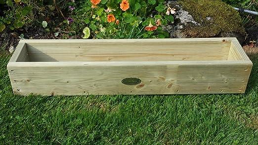 Cubierta Caja de maceta jardinera de madera 120 cm hecho a mano cajas de madera tratada a presión macetas. Un jardín de madera maceta: Amazon.es: Jardín