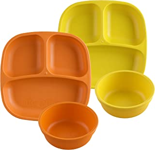 product image for Re-Play Made in USA 4pk Starter Dining Set of 2 Divided Plates with 2 Matching Bowls in Orange and Yellow. Made from Eco Friendly Heavyweight Recycled Milk Jugs - Virtually Indestructible!
