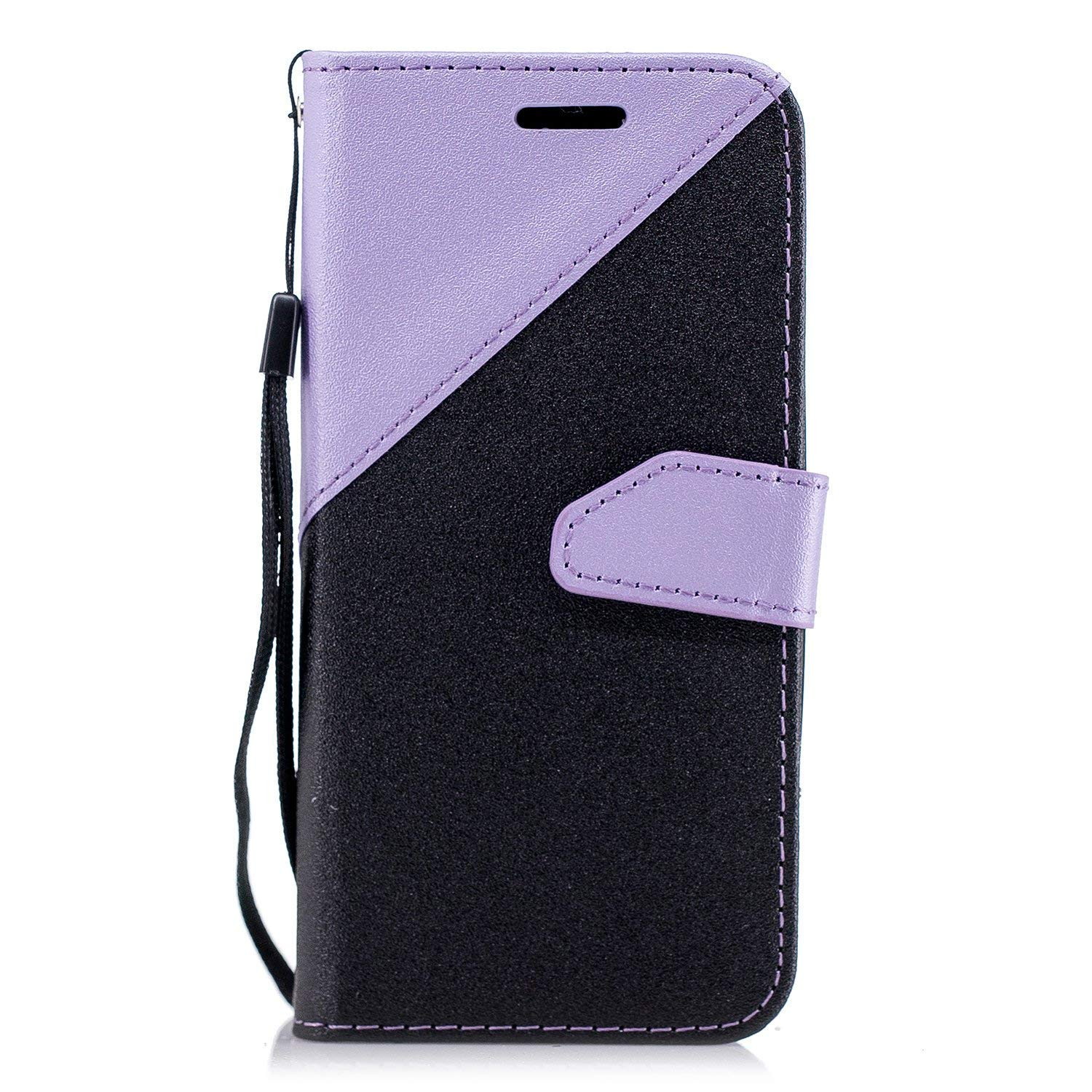 Surakey Huawei P8 lite 2017 Case, Sparkle Wallet Case Bling Glitter Splice Colors Flip PU Leather Protective Cover with Credit Card Slots Cash Holder for Huawei P8 lite 2017,Black Light Purple