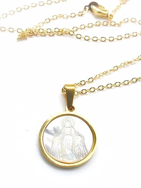 Amazon.com: Petanca Milagrosa Medalla Chapado en oro de 18 K ...