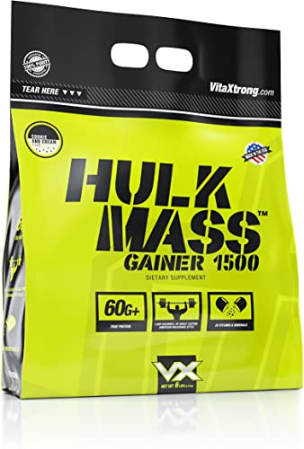 VitaXtrong Hulk Mass Gainer Protein Powder 60g of Protein Over 1500 Calories High Calorie Weight Gainer Protein Shake Increase Size, Build Strength Recover Faster- Cookies Cream, 6 Lbs