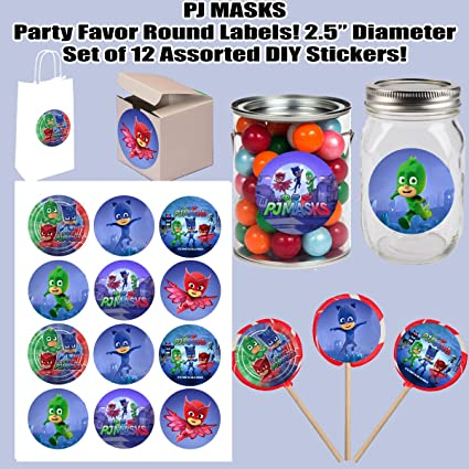 "PJ Masks Large 2.5"" Round Circle Stickers to Place onto Party Favor Bags, Cards"