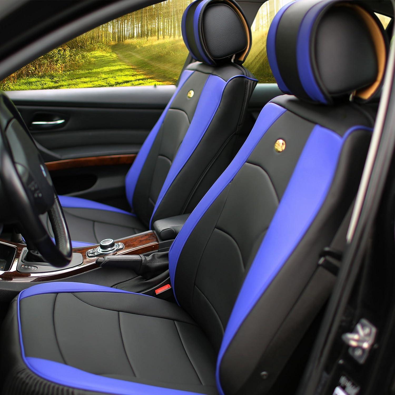 FH Group PU205013WHITEBLACK White//Black-Bench PU205WHITEBLACK013 Ultra Comfort Leatherette Rear Seat Cushions
