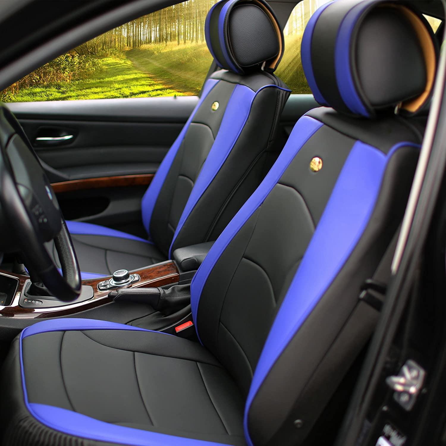 FH Group PU205102 Ultra Comfort Leatherette Front Seat Cushions Blue/Black Color- Fit Most Car, Truck, SUV, or Van