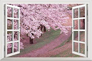 "wall26 - Self-Adhesive Wallpaper Large Wall Mural Series (24"" x32, Pink Cherry Blossom Spring)"