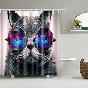 HSCC Galaxy Hipster Cat Wear Solar System Space Sunglasses Bathroom Shower Curtain Decor Art Prints Waterproof Polyester (Hipster Cat)