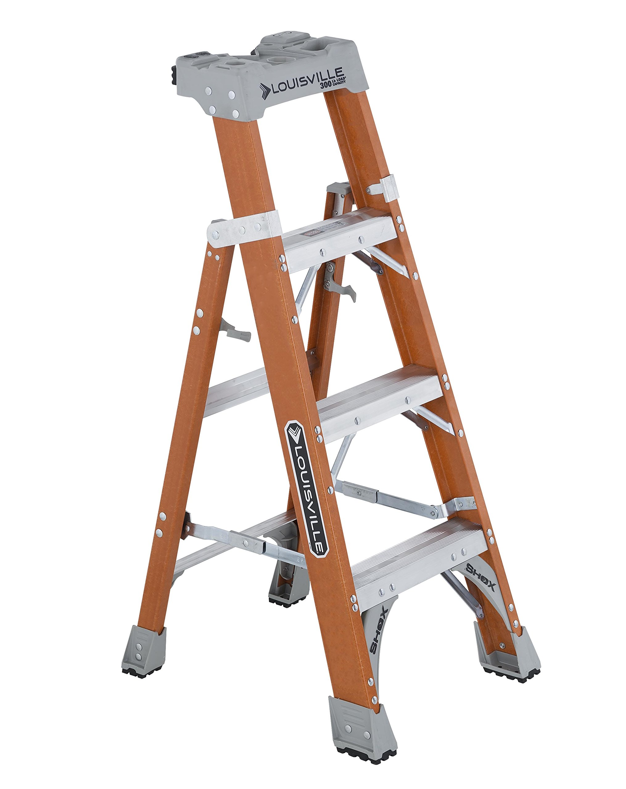 Louisville Ladder 4-foot Fiberglass Step/Shelf Ladder, 300-Pound Capacity, Type IA, Orange, FXS1504