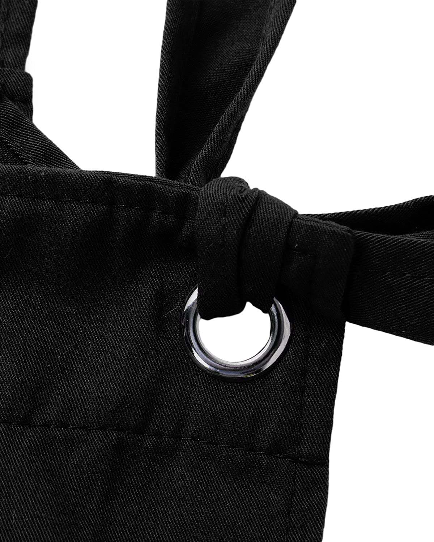 ACHIOOWA Donna Pantaloni Salopette Jeans Largge Tuta Casual da Taschino con Tracolla Elegante Pantaloni Gamba Moda Tasche Sciolto Solido Colore Ufficio Taglie Forti 897663-Nero L