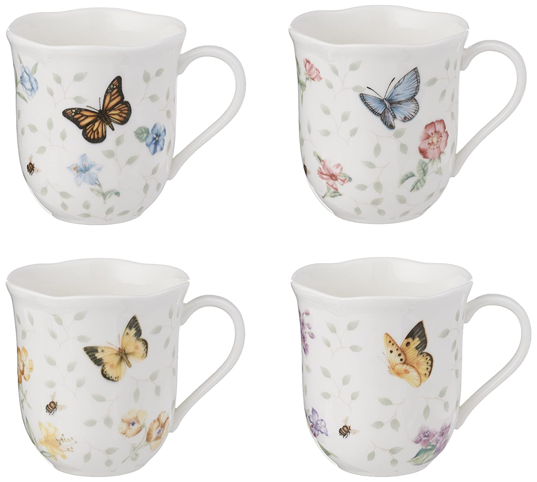 Lenox Butterfly Meadow Mug, 10-Ounce, Set of 4, White - 829054