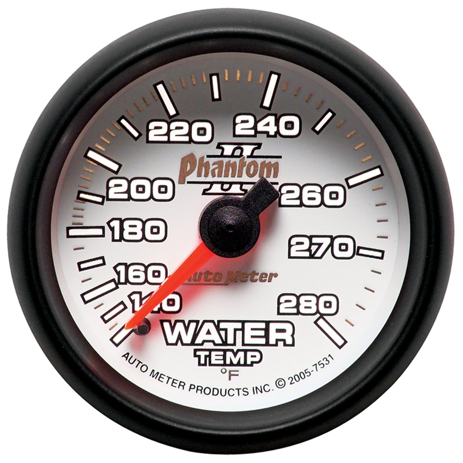 Auto Meter 7531 Phantom II 2-1/16'' 140-280 Degree Fahrenheit Mechanical Water Temperature Gauge