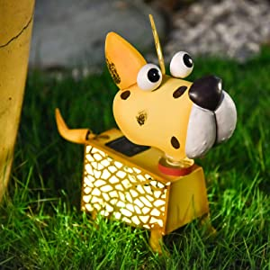 Outdoor Solar Animal Lights Yellow Dog Figurine with LED Lights Garden Statue Metal Yard Art Decoration for Patio Backyard Art Decor Lawn Ornaments (Dog)