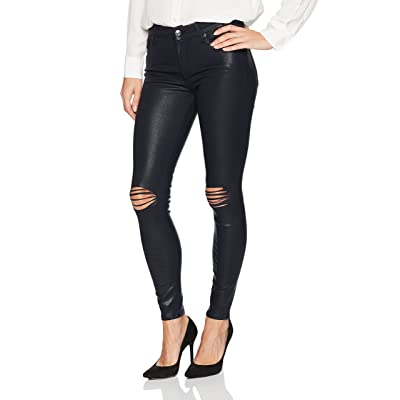 7 For All Mankind Women's Ankle Skinny Jean with Destroy in Coated Color
